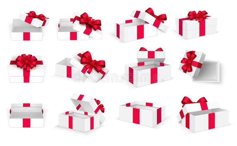 Geschenk Boxes Offener anwesender leerer Kasten des Weiß mit rotem Bogen und Bändern Weihnachts- und Valentinstagvektorschablone vektor abbildung