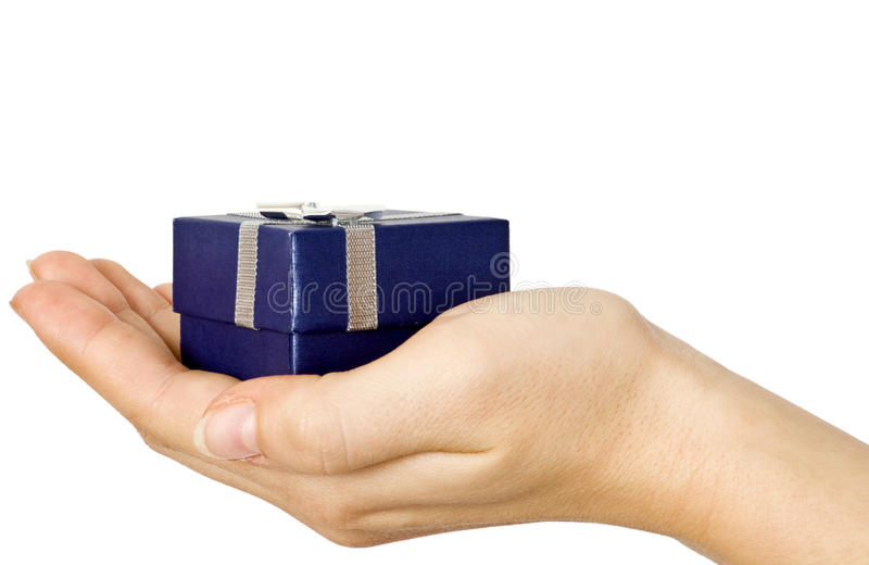 Geschenk in der Hand lizenzfreie stockfotos