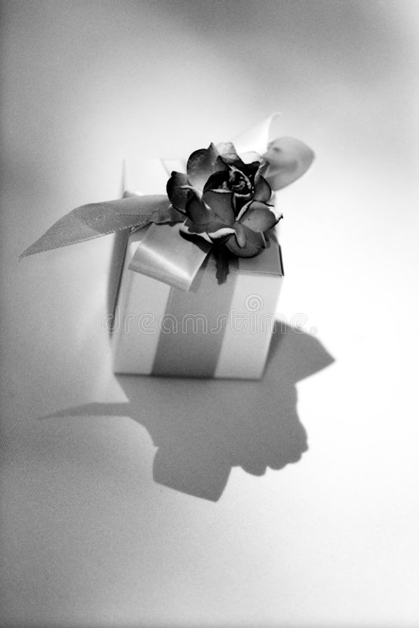 Geschenk eingewickelter Kasten an der Hochzeit lizenzfreies stockfoto