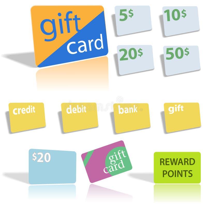 Geschenk-Gutschrift-Schuldposten-Scheckkarten lizenzfreie abbildung