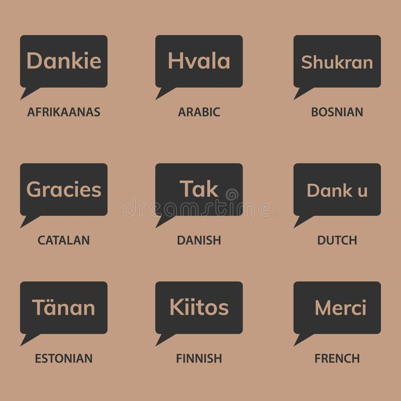 Geschenk-Karte getrennt auf Weiß Verschiedene Sprachen lizenzfreie abbildung