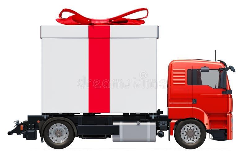 Geschenk-Lieferungs-Konzept LKW mit Geschenkbox, Wiedergabe 3D vektor abbildung