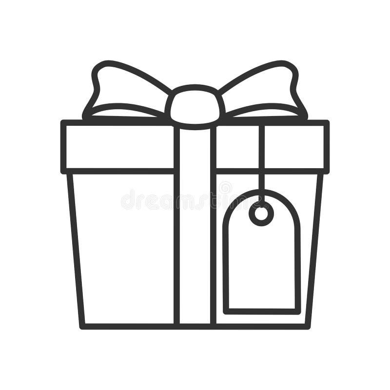 Geschenk mit Aufkleber-Entwurfs-flacher Ikone auf Weiß vektor abbildung