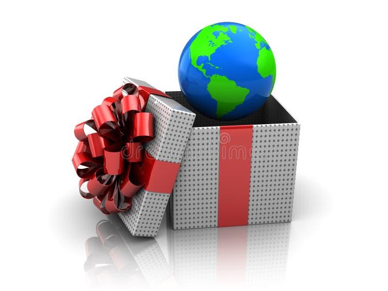 Geschenk mit Erdkugel lizenzfreie abbildung
