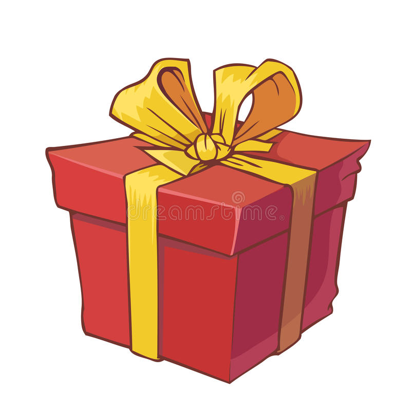 Geschenk mit goldenem Bogen lizenzfreie abbildung