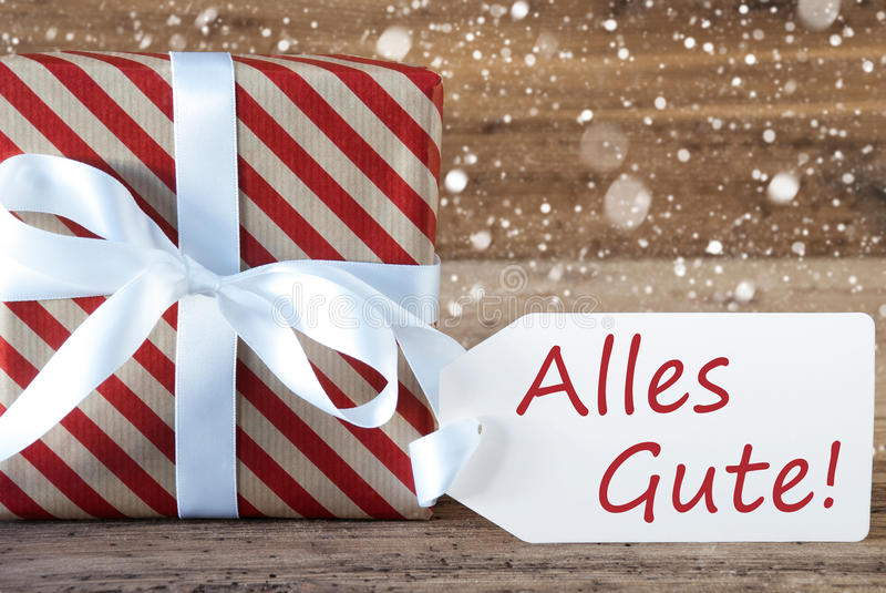 Geschenk mit Schneeflocken, Text Alles Gute bedeutet beste Wünsche stockfoto
