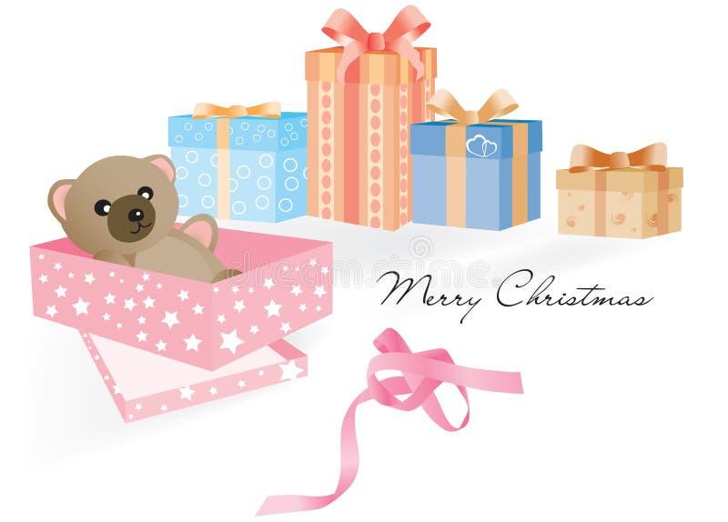 Geschenk mit Teddybären und anderen Geschenken stock abbildung