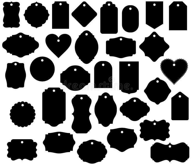 Geschenk-Tag formt lokalisierten dekorativen Aufkleber des Gepäckanhängers des Vektors Clipart lizenzfreie abbildung