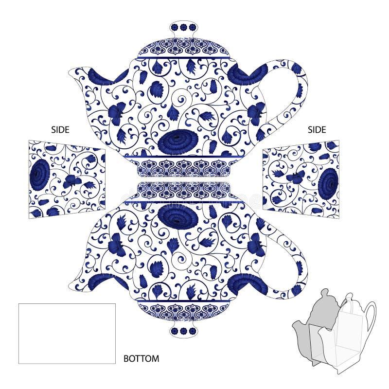 Geschenk-Teekannenkasten mit chinesischer Verzierung der Tonwaren für Teebeutel oder Süßigkeit Vector Illustration für geschnitte vektor abbildung