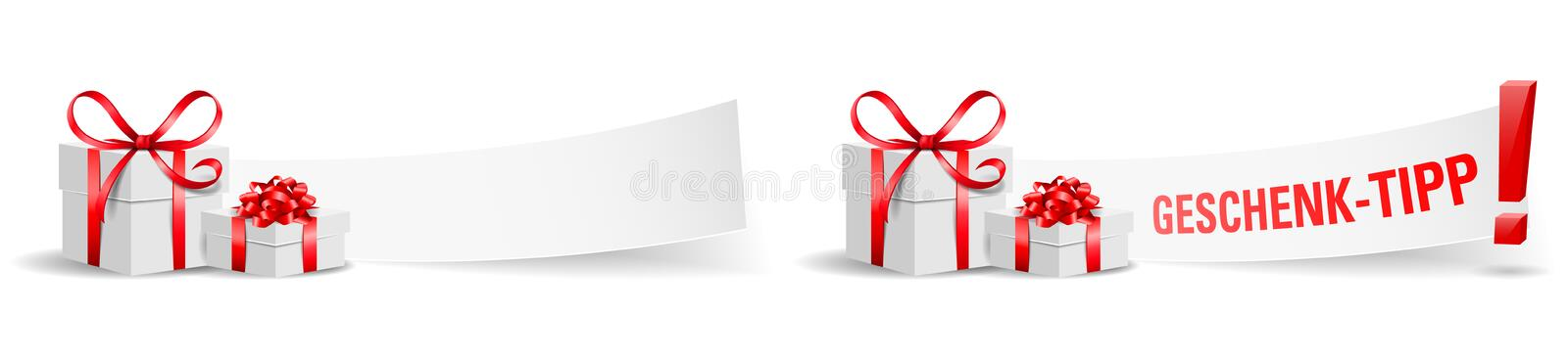 Geschenk Tipp Gift boxes with paper isolated vector set stock illustration
