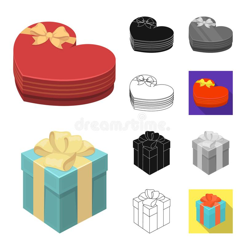Geschenk- und Verpackungskarikatur, Schwarzes, flach, einfarbig, Entwurfsikonen in der Satzsammlung für Design Buntes Verpackungs lizenzfreie abbildung