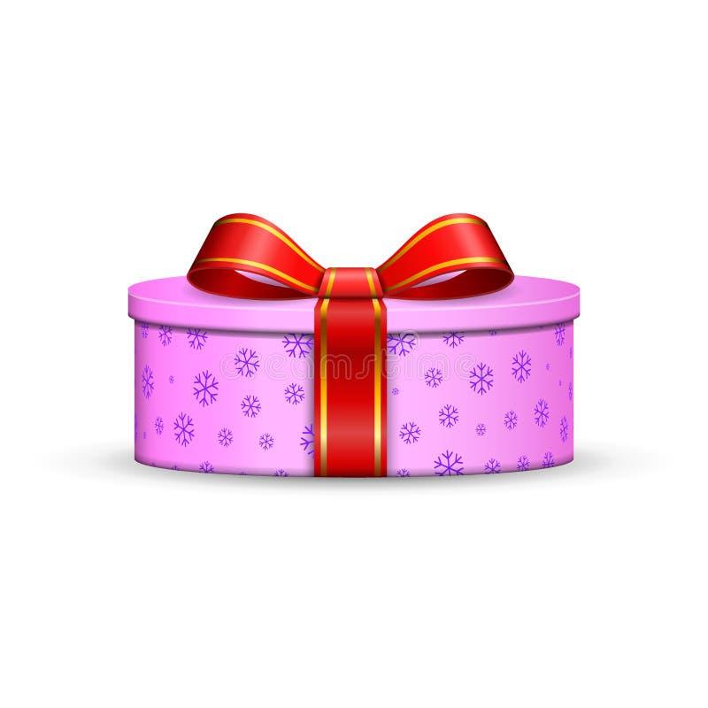 Geschenkbox 3d, roter Bandbogen lokalisierte weißen Hintergrund Anwesende rosa Geschenkbox der Dekoration für glücklichen Feierta vektor abbildung