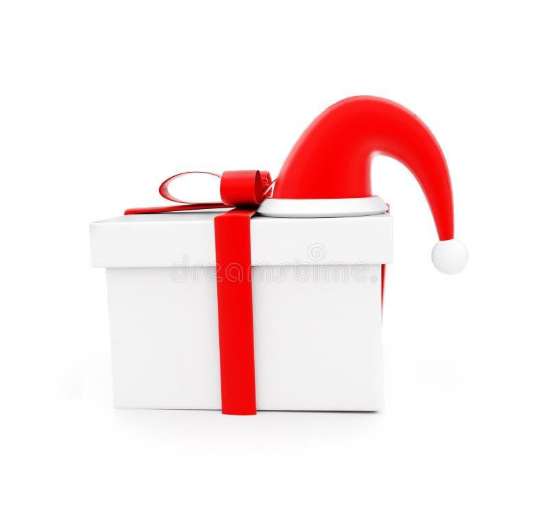 Geschenkbox 3d und ein Sankt-Hut über ihm Konzept lizenzfreie abbildung