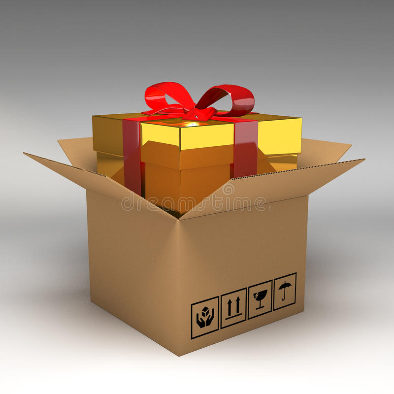 Geschenkbox in den Pappschachteln stock abbildung