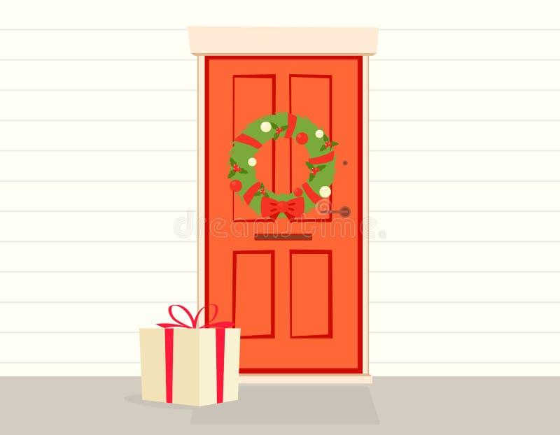 Geschenkbox an der Tür vektor abbildung