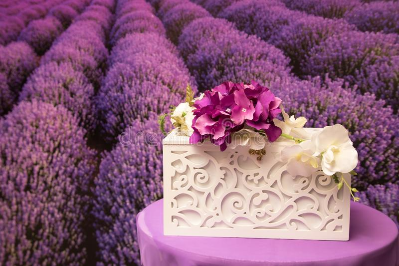 Geschenkbox für die Braut und den Bräutigam lizenzfreies stockfoto