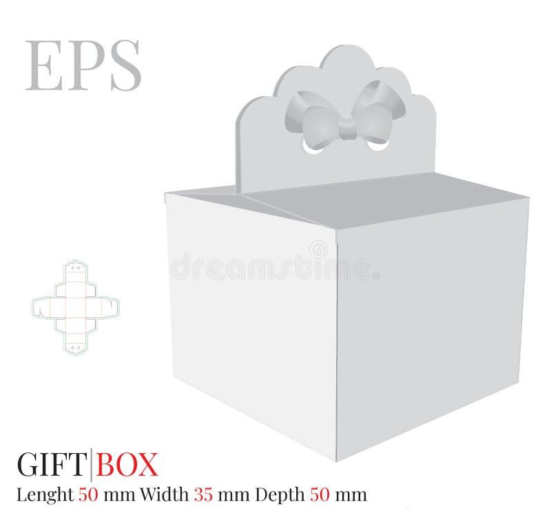 Geschenkbox-Herz mit Bogen-Schablone, Vektor mit gestempelschnitten/Laser schnitt Schichten Lieferungs-Tortenschachtel, Selbstver stock abbildung