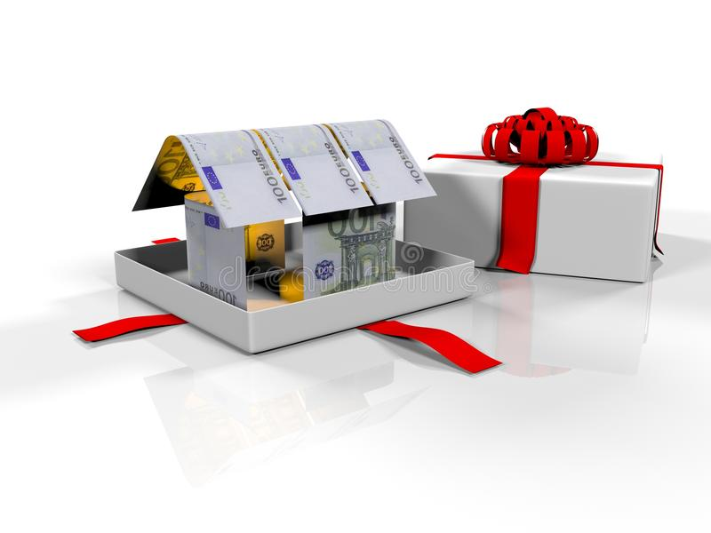 Geschenkbox im Haus von Banknoten auf einem weißen Hintergrund, 3d übertragen lizenzfreie abbildung