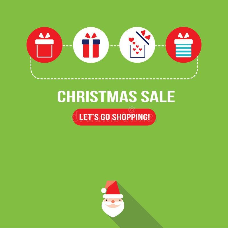 Geschenkbox mit anwesender Ikonen neues Jahr-Weihnachtsdesignschablone stock abbildung