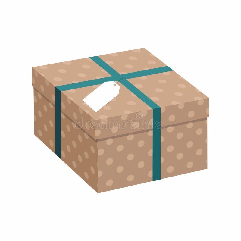 Geschenkbox mit Band über weißem Hintergrund Braunes Packpapier Abbildung 3D vektor abbildung