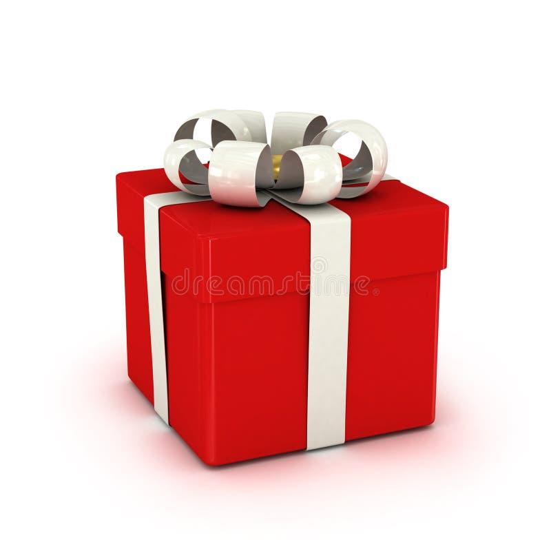 Geschenkbox, mit Band mögen ein Geschenk. über weißem Hintergrund stock abbildung