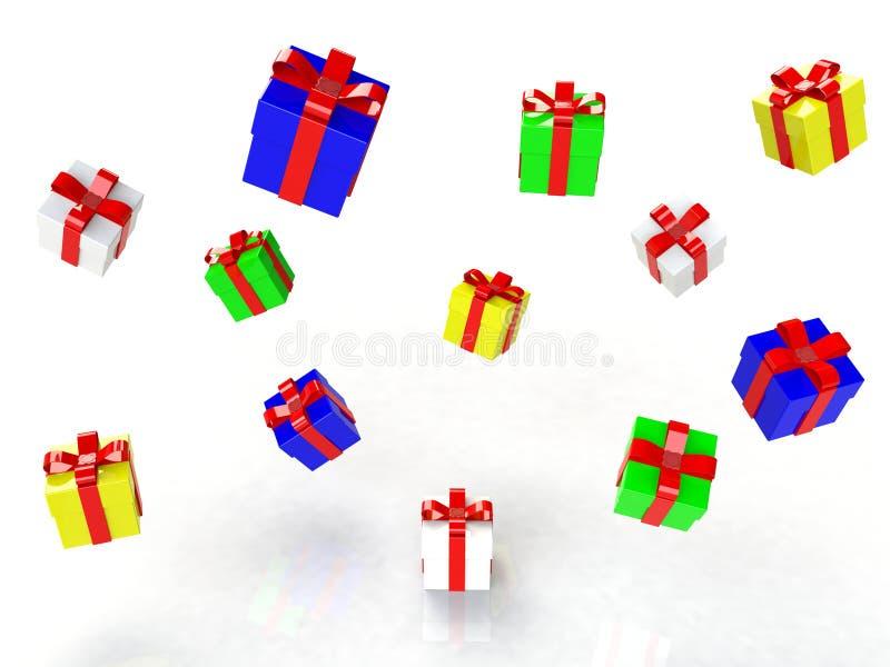 Geschenkbox, mit Band mögen ein Geschenk in weißem mit buntem Kranz auf Kopf stock abbildung