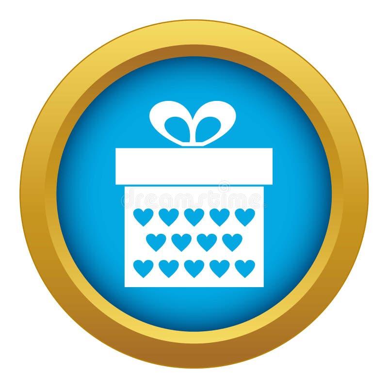 Geschenkbox mit blauem Vektor der Bandbogen-Ikone lokalisiert vektor abbildung