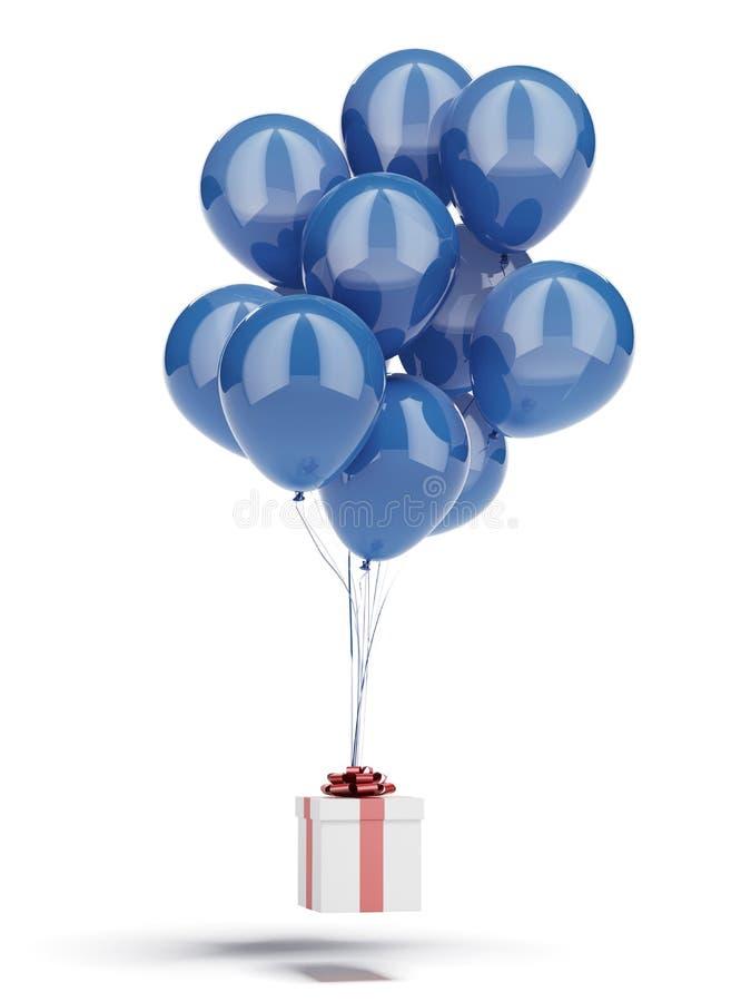Geschenkbox mit blauen Ballonen stockfoto