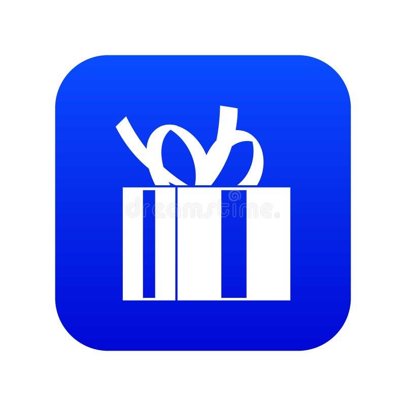 Geschenkbox mit digitalem Blau der Bandikone vektor abbildung