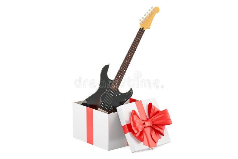 Geschenkbox mit E-Gitarre, Wiedergabe 3D lizenzfreie abbildung