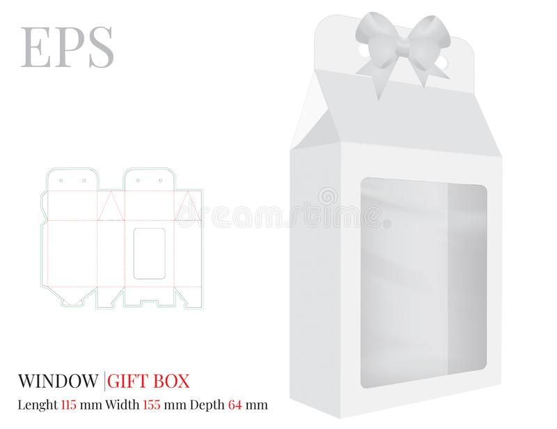 Geschenkbox mit Fenster-Schablone, Vektor mit den gestempelschnittenen/Laser-Schnittlinien Wei?, klar, freier Raum, lokalisierter vektor abbildung