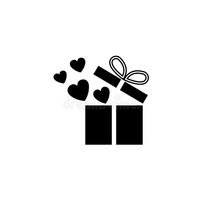 Geschenkbox mit fester Ikone der Herzen, lieben Geschenk stock abbildung