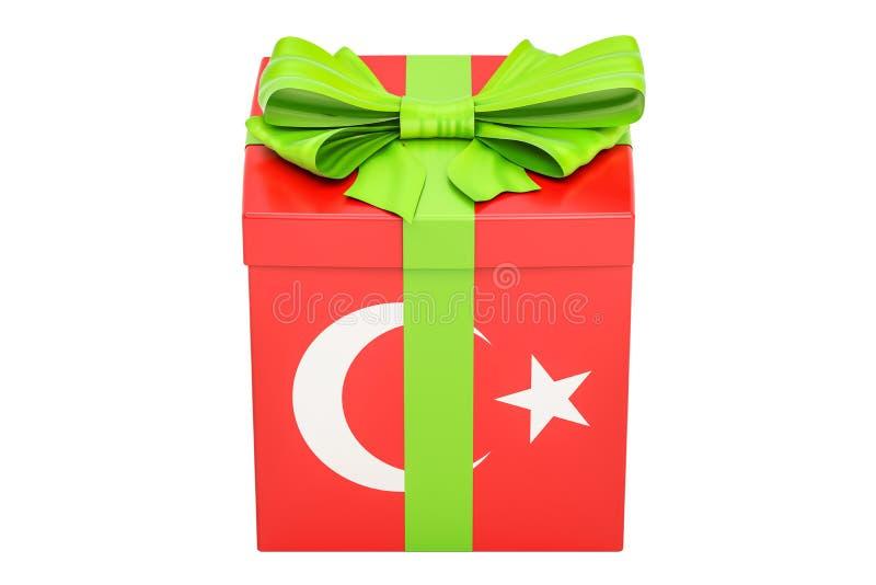 Geschenkbox mit Flagge von der Türkei, Feiertagskonzept Wiedergabe 3d stock abbildung