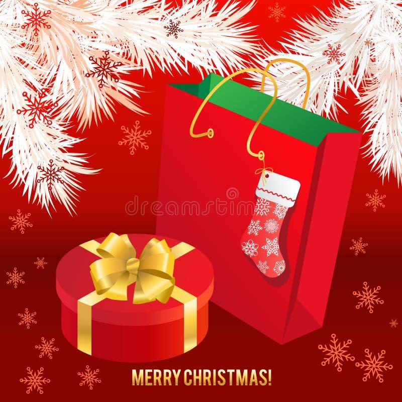 Geschenkbox mit Goldbogen und -Papiertüte vektor abbildung