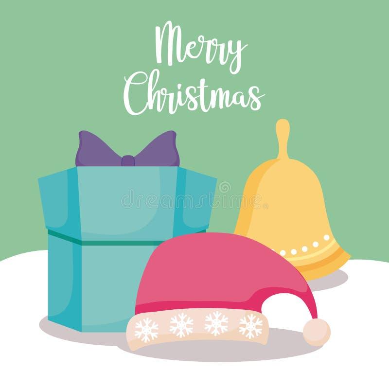 Geschenkbox mit Hut und Glocke von Weihnachten vektor abbildung