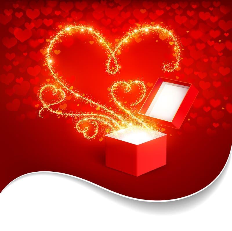 Geschenkbox mit magischen Inneren stock abbildung