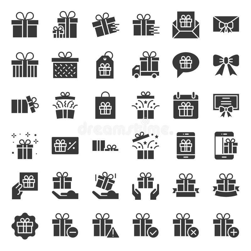 Geschenkbox- oder Präsentkartonikone, feste Art stock abbildung