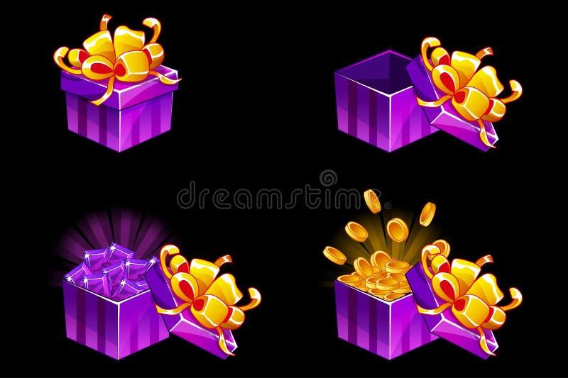 Geschenkbox offen und geschlossen Karikatur-isometrisches Geschenk mit Münzen und Edelsteinen, Vektorprämienikonen für UI-Spielbe lizenzfreie abbildung