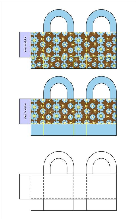 Geschenkbox-Schablone und Design lizenzfreie abbildung
