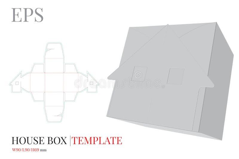 Geschenkbox-Schablone, Vektor mit den gestempelschnittenen/Laser-Schnittlinien Haus-S??igkeits-Kasten Wei?er, leerer, klarer, lok lizenzfreie abbildung