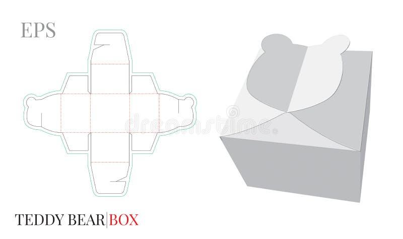 Geschenkbox-Schablone, Vektor mit den gestempelschnittenen/Laser-Schnittlinien Süßigkeits-Kasten Teddy Bear vektor abbildung