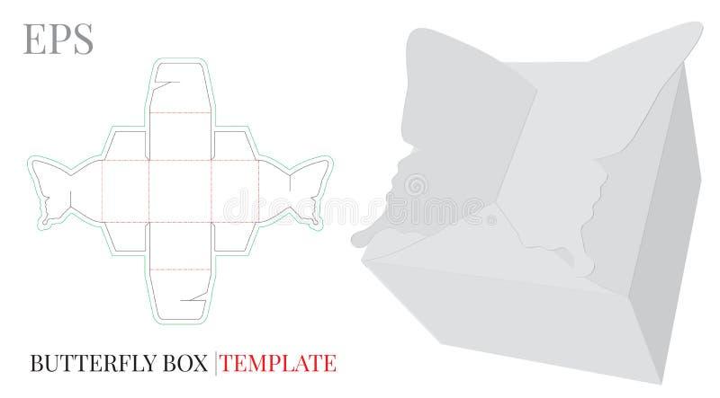Geschenkbox-Schablone, Vektor mit den gestempelschnittenen/Laser-Schnittlinien stock abbildung