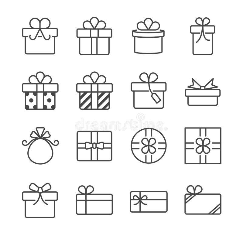 Geschenkbox und anwesende Ikonen vektor abbildung