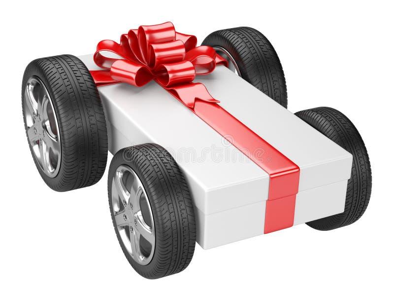 Geschenkbox und ein Reifen dreht sich lizenzfreie abbildung