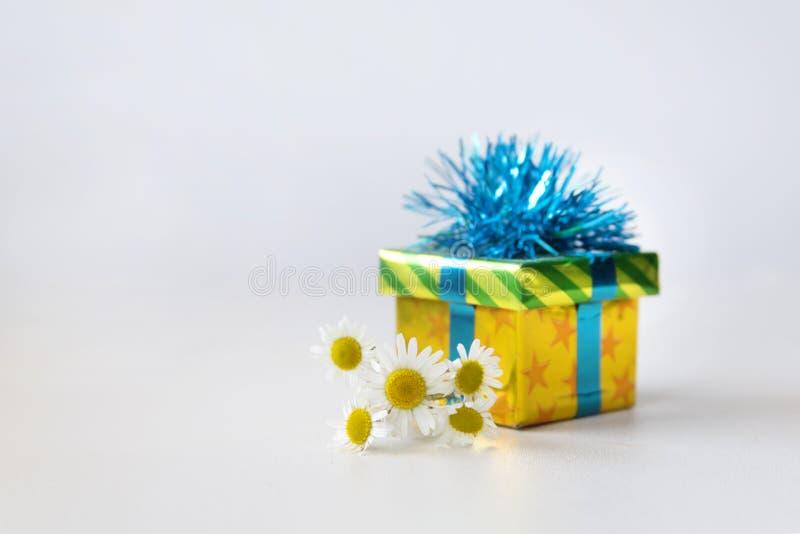 Geschenkbox und Kamille blüht auf einem weißen Hintergrund Festliches Konzept mit Kopienraum stockbild