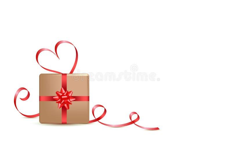 Geschenkbox und roter Kalligraphiestreifen Valentinsgrußtagesgruß-Kartenentwurf, Art 3d auf weißem Hintergrund lizenzfreie abbildung