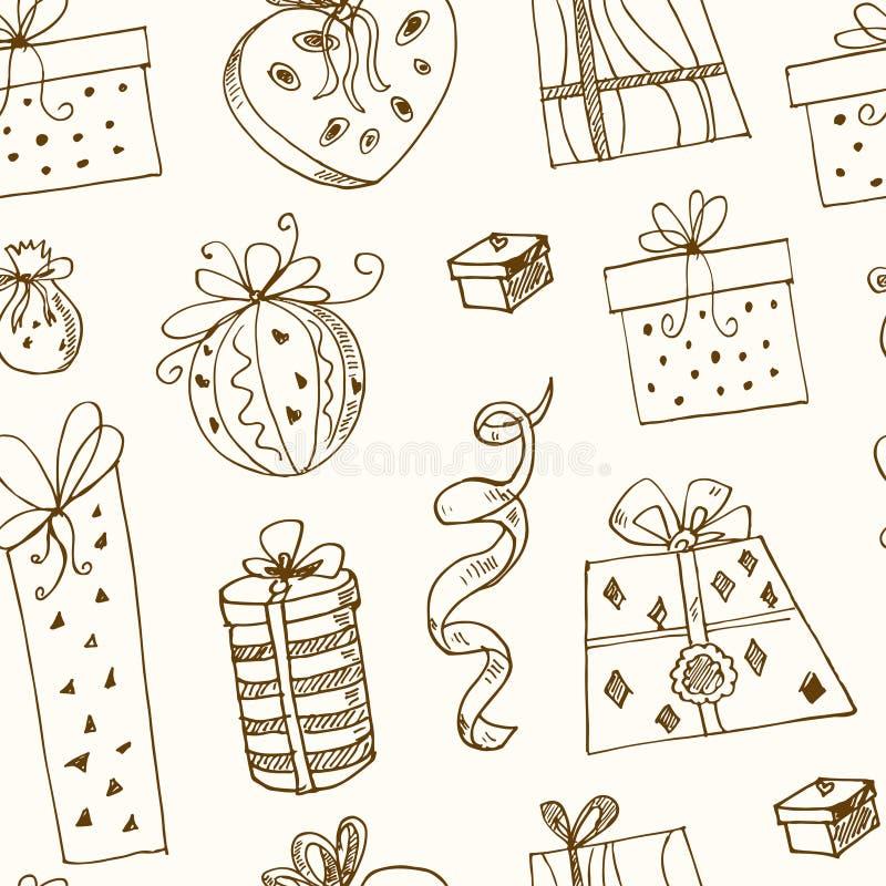 Geschenkboxen kritzeln nahtloses Muster Weinleseillustration für Identität, Design vektor abbildung