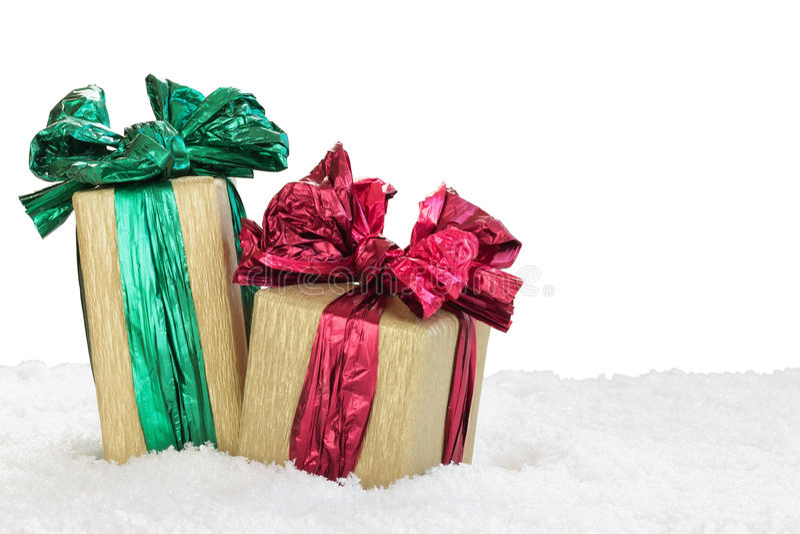 Geschenkboxen lokalisiert auf weißem Hintergrund stockbilder