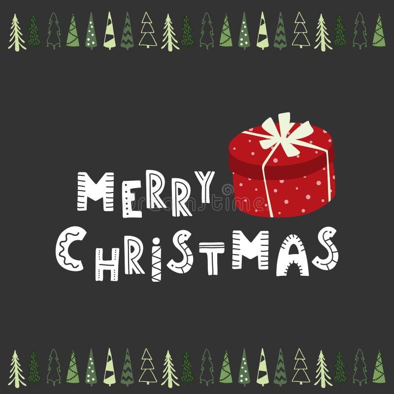 Geschenkboxfeiertagskarte der frohen Weihnachten Hand gezeichnete lizenzfreie abbildung