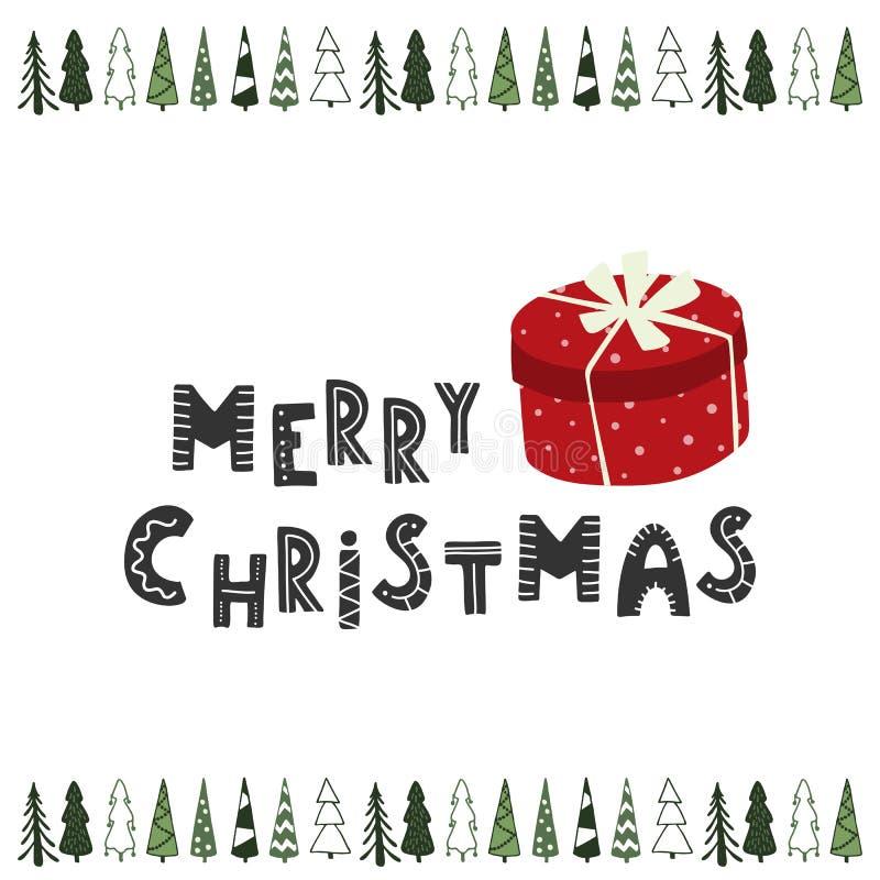 Geschenkboxfeiertagskarte der frohen Weihnachten Hand gezeichnete vektor abbildung